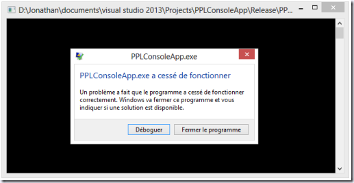 Crash d'une application Console suite à une exception